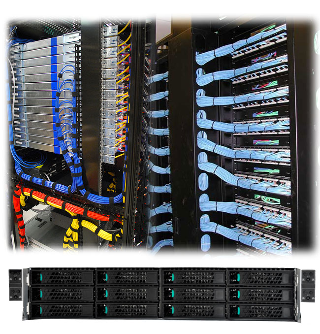 modern rack servers in a data centre installation